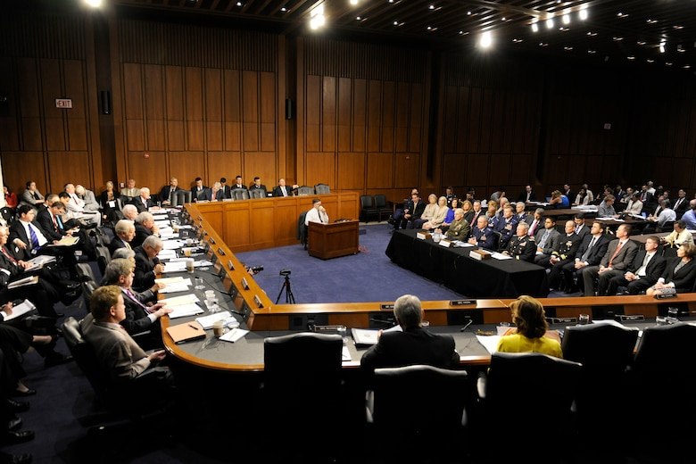 Gen. Mark A. Welsh III, the commander of U.S. Air Forces in Europe, testifies before the Senate Armed Services Committee in Washington, D.C., on July 19, 2012, as part of the confirmation process to serve as the 20th Air Force Chief of Staff.  If confirmed, Welsh will replace Gen. Norton Schwartz, who retires Aug. 10.  Additional witnesses before the committee were Lt. Gen. John F. Kelly, U.S. Marine Corps, who is nominated to the rank of general and to take command of U.S. Southern Command, and Lt. Gen. Frank Grass, Army National Guard, also nominated for the rank of general and for appointment as the Chief of the National Guard Bureau. (U.S. Air Force photo/Scott M. Ash)