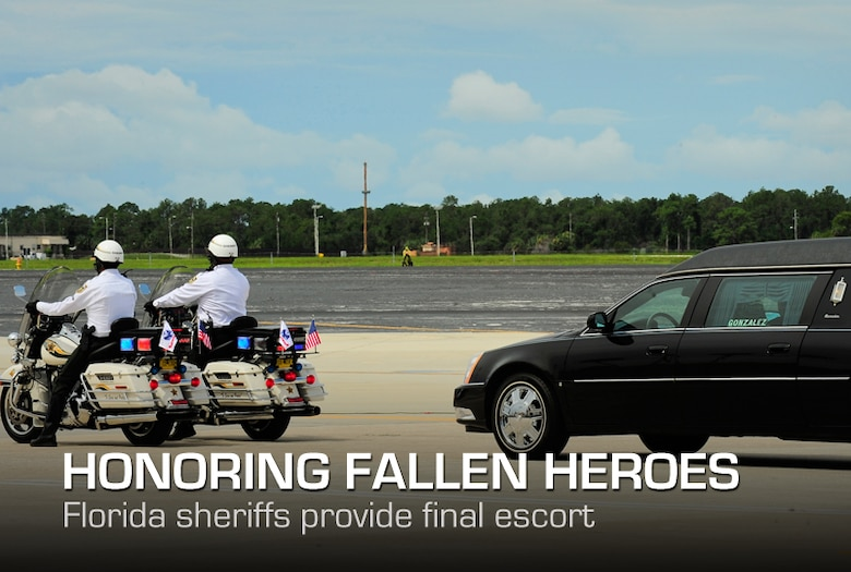 Hillsborough Sheriff's County deputies escort a hearse carrying a fallen Solider Army Staff Sgt. Ricardo Seija's remains from the flightline at MacDill Air Force Base's , July 17, 2012. Seija died July 8, of wounds suffered from an improvised explosive device when enemy forces attacked his unit in Maidan Shahr, Wardak province, Afghanistan., He was 31-years-old. (U.S. Air Force photo by Staff Sgt. Angela Ruiz)