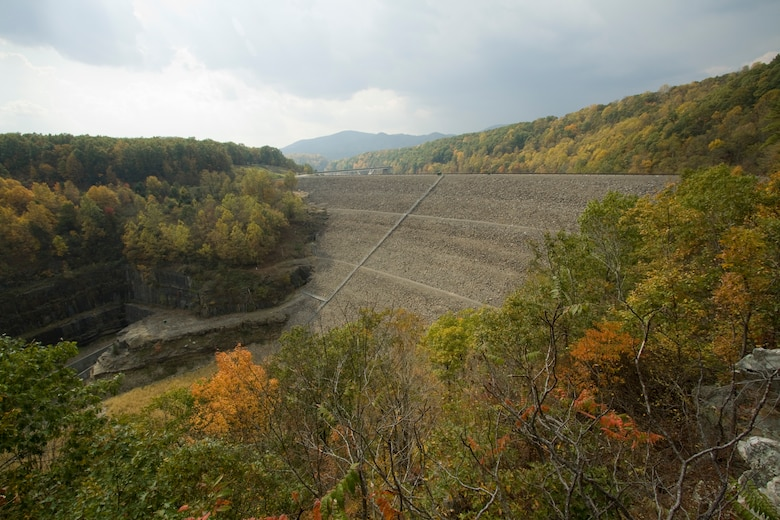 Gathright Dam located in Alleghany County, Va., impounds the water flowing down the Jackson River to create the 2,500 acre Lake Moomaw. The dam has prevented numerous floods over its 30 plus year existence saving countless dollars and lives. (U.S. Army Photo/Patrick Bloodgood)