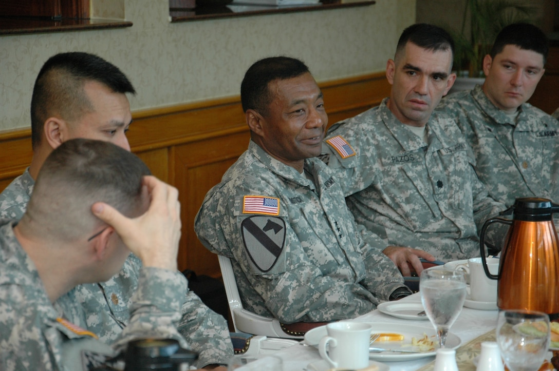 SEOUL, Republic of Korea — Lt. Gen. Thomas Bostick, U.S. Army Corps of Engineers Commanding General, speaks to U.S. Army engineers stationed in the Republic of Korea July 17, 2012 as part of his two-day visit to the peninsula. Bostick met with U.S. and Korean military officials and toured the multi-billion dollar construction project at U.S. Army Garrison Humphreys, about 40 miles south of Seoul, July 16-17. The Corps of Engineers has about 37,600 military and civilian personnel providing project management and construction support in more than 100 countries.