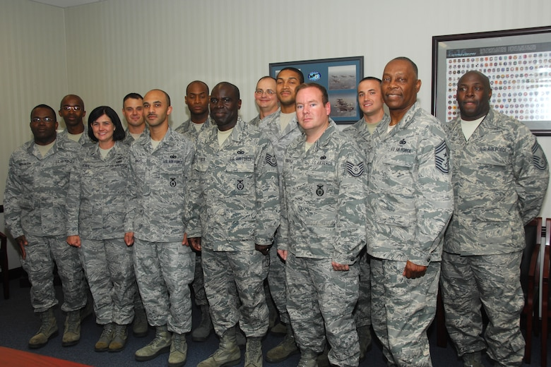 Members of the South Carolina Air National Guard at McEntire Joint National Guard Base, S.C., complete their final night class of the NCO Academy Distance Learning Program, June 7, 2012.  They will be attending a final two week in-residence training to complete their PME instruction at McGhee Tyson Air National Guard Base, T.N..  (South Carolina Air National Guard Photo by:  Master Sgt. Pelham Myers Jr., RELEASED, 169th FW Public Affairs)