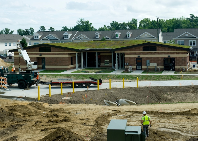 """The newly-installed Soldier and Family Assistance Center vegetated roof protects the building from direct weather and environmental elements July 12, 2012, at Fort Eustis, Va. The SFAC's vegetated roof also minimizes storm water runoff, and mitigates urban """"heat island"""" effects by absorbing heat. (U.S. Air Force photo by Senior Airman John D. Strong II / released)"""
