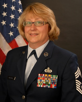 Portrait of Chief Master Sgt Deborah Marshall, Chief of the 169th Force Support Squadron.