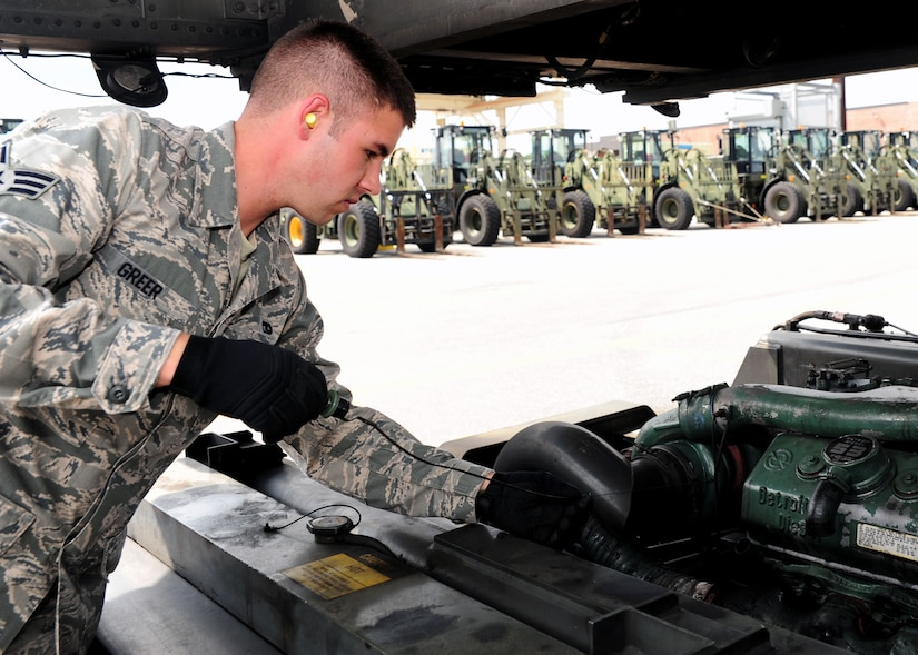 Senior Airman Kyle Greer, 437th Aerial Port Squadron journeyman, checks the oil on a 60K Tunner loader, July 17, 2012, at Joint Base Charleston – Air Base, S.C. The 437th APS provides out-load support for the nation's premier rapid deployment forces: XVIII Airborne Corps, 82nd Airborne Division, Joint Special Operations Command and 43rd Airlift Wing. The squadron is prepared to meet short-notice, worldwide mobility taskings in support of national objectives, and plans and executes support for more than 50 percent of all joint airborne and air transportability training missions flown by Air Mobility Command/Reserve forces in support of Joint Operations. (U.S. Air Force photo/ Airman 1st Class Chacarra Walker)