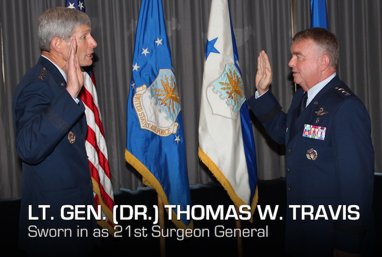 Air Force Chief of Staff Gen. Norton A. Schwartz officiates the promotion of Lt. Gen. (Dr.) Thomas W. Travis, Air Force Surgeon General, during a ceremony on July 20 at the Bolling Club. (Air Force photo by Jon Stock)