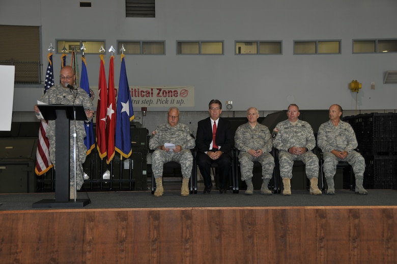 The official party of the 81st Troop Command ceremony on June 19, 2012. (LtoR) Lt. Col. Troy Joslin, 81st Troop Command XO; Maj. Gen. R. Martin Umbarger, Adjutant General of Indiana; Mr. Duke Bennett, Mayor of Terre Haute; Brig. Gen. John P. McGoff, Chief of Staff-Air; Brig. Gen. Michael Osburn, 81st troop Command, Commander; Col. Donald Bonte, 181st Intelligence Wing, Commander. Photo by Senior Master Sgt. John S. Chapman (Released)