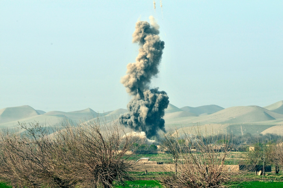 BALA MURGHAB, Afghanistan – An insurgent compound explodes after a Air Force B-1 Lancer drops a 38GBU bomb on the facility in northern Bala Murghab Valley, Badghis Province, Afghanistan April 4, 2011. The B-1 responded as a close-air support asset and assisted 7th Squadron, 10th Cavalry Regiment scouts from Bulldog Troop's Red Platoon in a sustained combat engagement, which resulted in the destruction of insurgent strongholds and improvised explosive device making facilities. This photo was originally released April 7, 2011. (U.S. Air Force photo/Master Sgt. Kevin Wallace)