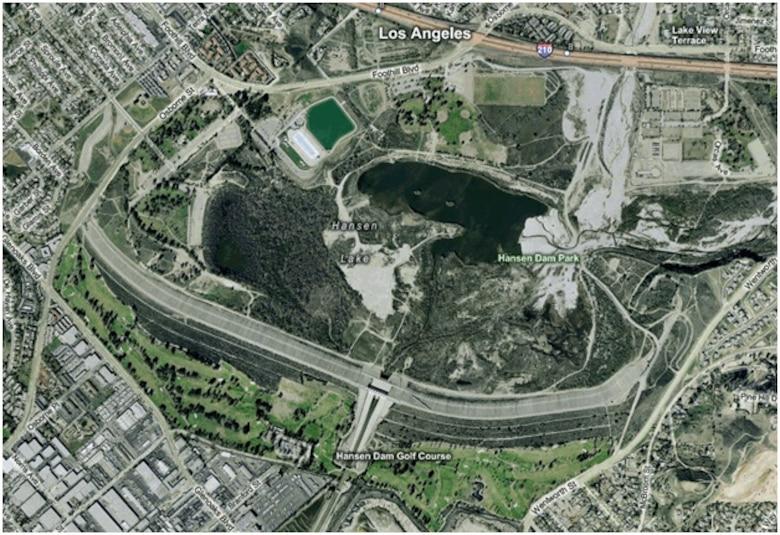 Aerial view of Hansen Dam