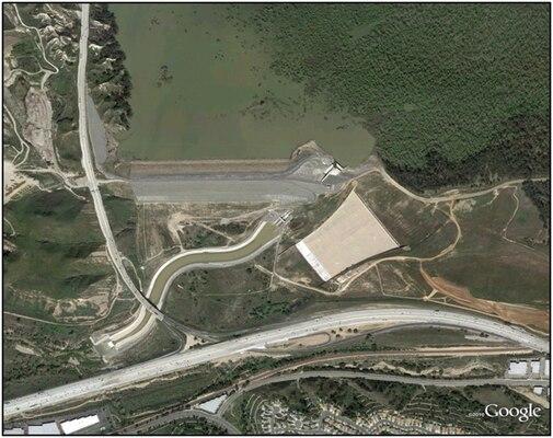Aerial view of Prado Dam