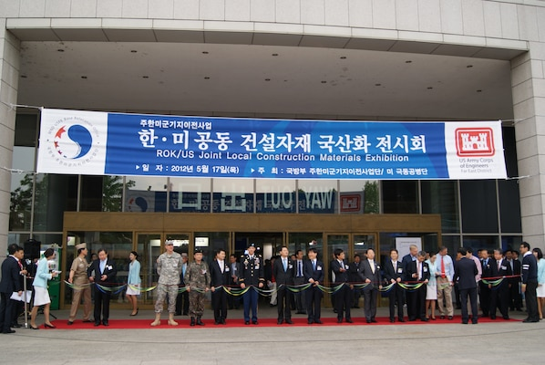Attendees listen to speakers at the Local Construction Materials Conference hosted by the Far East District and the Korea Ministry of National Defense May 17.