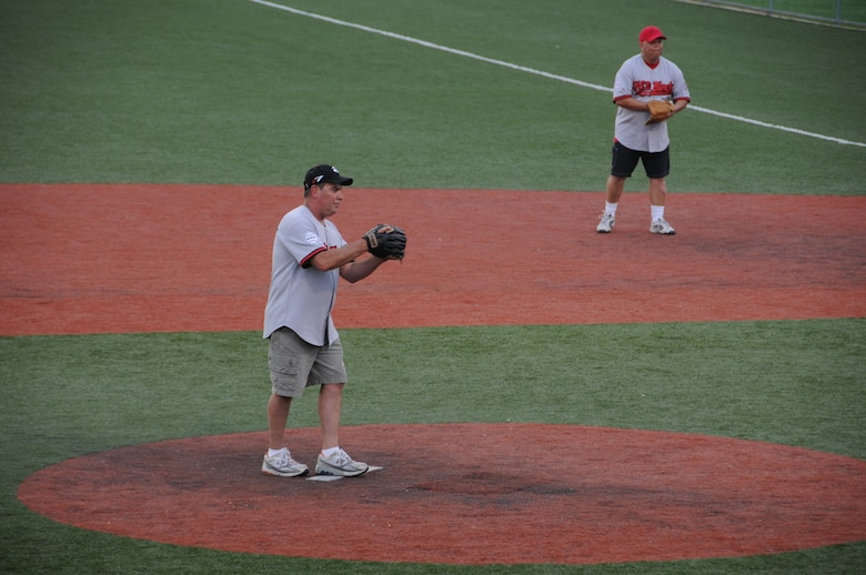 Chief Master Sgt. Ray Riel, U.S. Army Corps of Engineers, Far East District Construction Representative, pitches during an FED softball game in June 2010.  Riel has completed his service for FED and will be retiring soon in May.  (Photo by Patrick Bray)