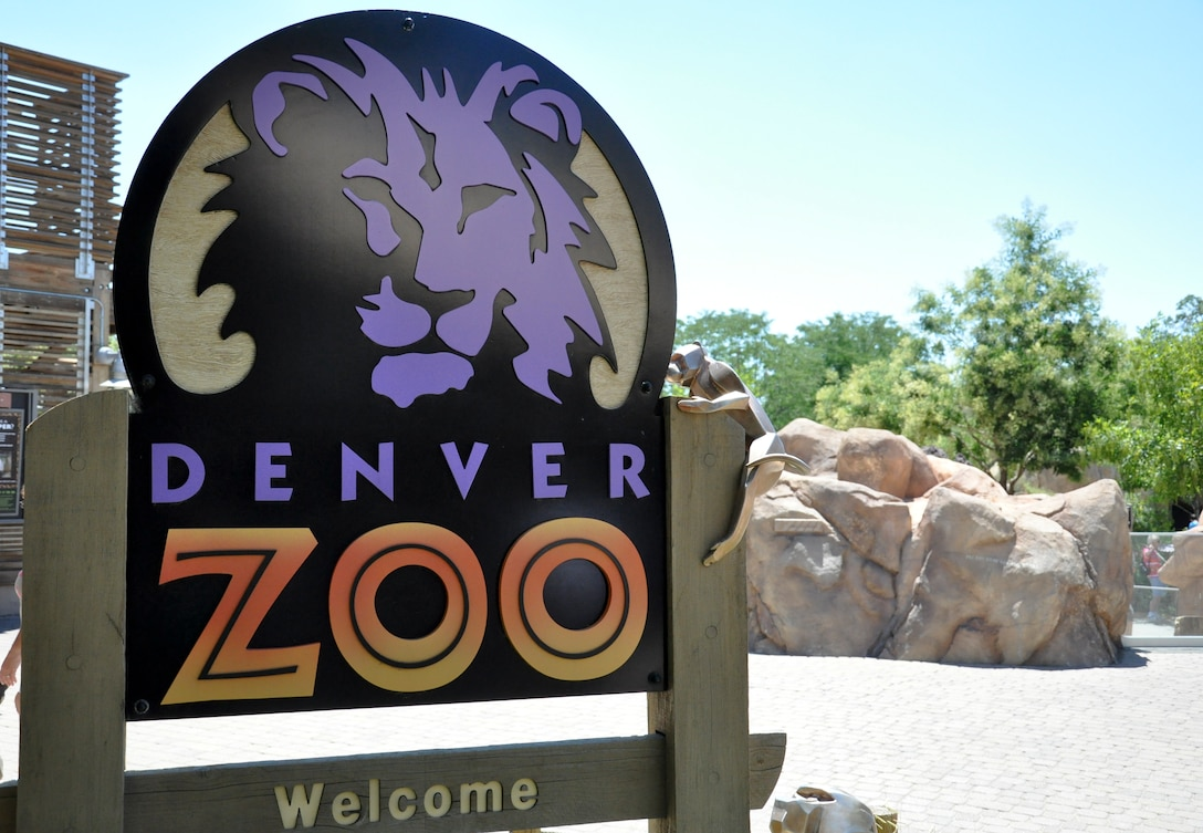 DENVER – The sign at the Denver Zoo entrance symbolizes the start of an animal-packed adventure July 21, 2012.  The zoo was started in 1896 with the small, orphaned black bear named Billy Bryan as its first resident, according to the official website.  (U.S. Air Force photo by Staff Sgt. Nicholas Rau)