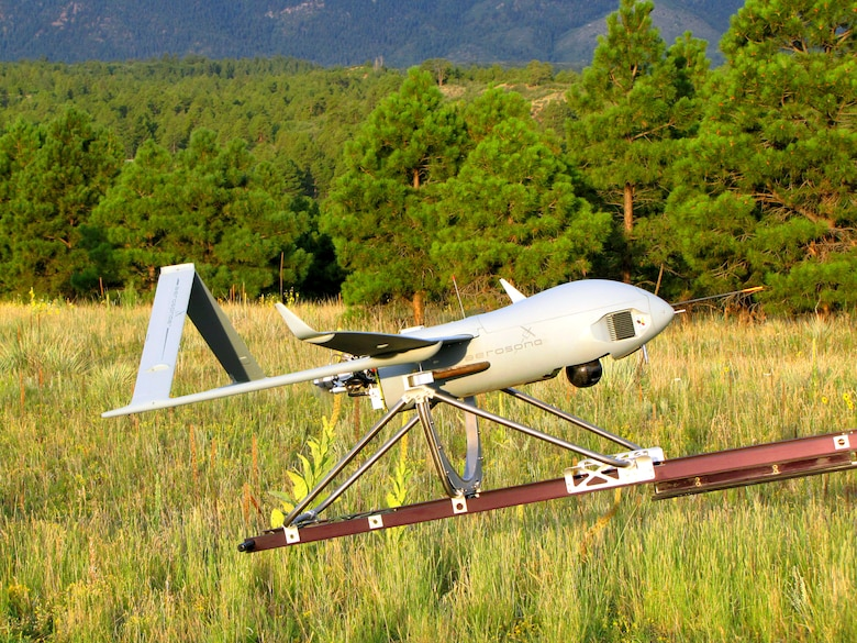 An Aerosonde remotely piloted aircraft prepares for takeoff from the Aardvark airfield east of Jacks Valley at the Air Force Academy Sept. 1, 2011. Academy cadets control the RPAs from an operations center in the 557th Flying Training Squadron at the Academy's primary airfield. (U.S. Air Force photo)