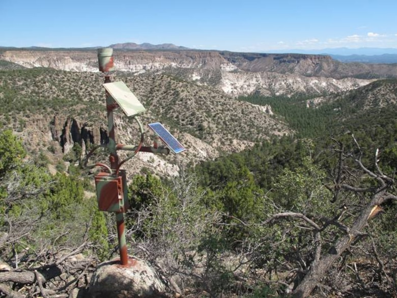 The tipping bucket rain gauge the Corps installed in Peralta Canyon is shown here. The gauge reports local precipitation amounts.