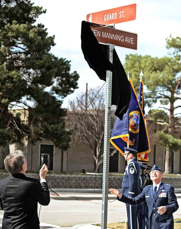 "Idaho Gov. C.L. ""Butch"" Otter and Idaho Adjutant General unveil Gen Manning Avenue in honor of former Idaho adjutant general, retired Maj. Gen. Darrell Manning, March 27, at Gowen Field. Farman Street, named for a French aviation pioneer, was named for the 41-year military veteran and Preston, Idaho, native who retired as the senior military official in Idaho in 1995."