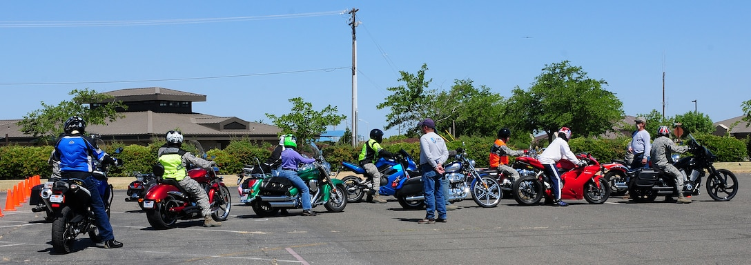 Students of the Basic Riders Course II line up to ride at the Omni parking lot at Beale Air Force Base, May 23, 2012.  The course was a controlled simulated environment that prepared students for what they may encounter on the road.  (U.S. Air Force photo by Senior Airman Allen Pollard/Released))