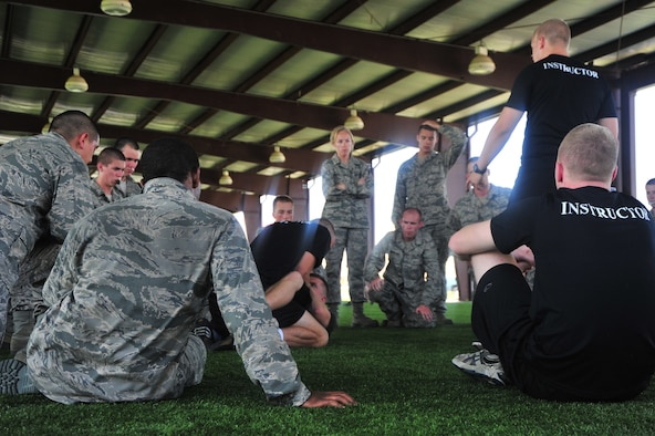 Cadets learn combative skills during their summer field training on May 22. Combative training is part of the rigorous physical expectations placed on cadets during their 28 days at Maxwell. (U.S. Air Force photo by Airman 1st Class William Blankenship)