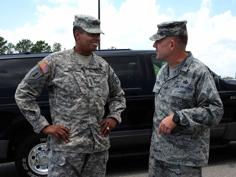 Army Lt. Gen. Vincent Brooks, Third Army commanding general, is greeted by Col. Richard McComb, Joint Base Charleston commander, at the JB Charleston – Weapons Station May 23, 2012. Brooks visited JB Charleston to get a first-hand look at the military functions that are unique to this base. (U.S. Air Force photo/Airman 1st Class Ashlee Galloway)