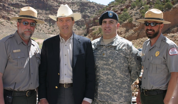 At the ceremony celebrating the new low-flow turbine at Abiquiu was (L to R), Operations Project Manager Dave Dutton, Senator Tom Udall, Deputy Commander Maj. Richard