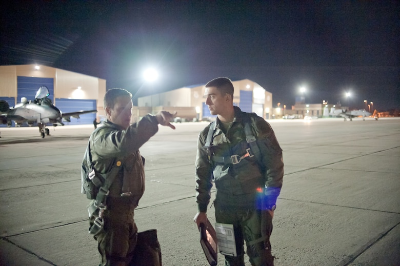 Instructors from the 66th Weapons Squadron (WS), along with students enrolled in the United States Air Force Weapons School, and pilots with the 190th Fighter Squadron (FS) prepare to take off on a night mission in their A-10 Thunderbolt IIs from Gowen Field, Boise, Idaho on November 10. The 66th WS, stationed at Nellis Air Force Base, Nevada, is conducting USAF Weapons School training from Gowen Field, in conjunction with A-10s from the 190th FS, and other agencies and units, providing realistic training opportunities in nearby ranges.  (U.S. Air Force by Staff Sgt. Robert Barney)