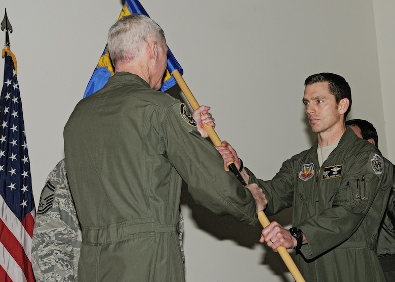 A-10 Thunderbolt II pilot Lt. Col. Shannon Smith assumes command of the 190th Fighter Squadron, Feb. 4, at Gowen Field in Boise, Idaho. Smith, a Marshalltown, Iowa, native, has served as a member of the Idaho Air National Guard since 2002, after serving 10 years in the Air Force. He earned his commission through Montana State University's Reserve Officer Training Corps. (Air Force photo by Becky Vanshur)