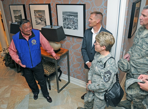 U.S. Marine Corps Colonel (ret) Ray Bachillar provides a tour of the Fisher House in Salt Lake City, Utah, to members of the Utah Air Guard Chief's Council on May 4, 2012. The Fisher House provides housing for family members of veterans receiving health care at the nearby Veterans Administration hospital.(U.S. Air Force photo by Master Sergeant Gary J. Rihn)
