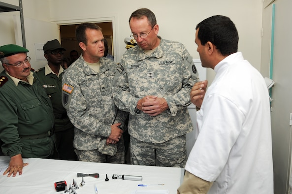 U.S. Army, Major General Brian Tarbet, The Adjutant General for the Utah National Guard, talks to an ear specialist at a clinic near Agadir, Morocco, on April 15, 2012. (U.S. Air Force photo by Master Sergeant Gary J. Rihn/Released)