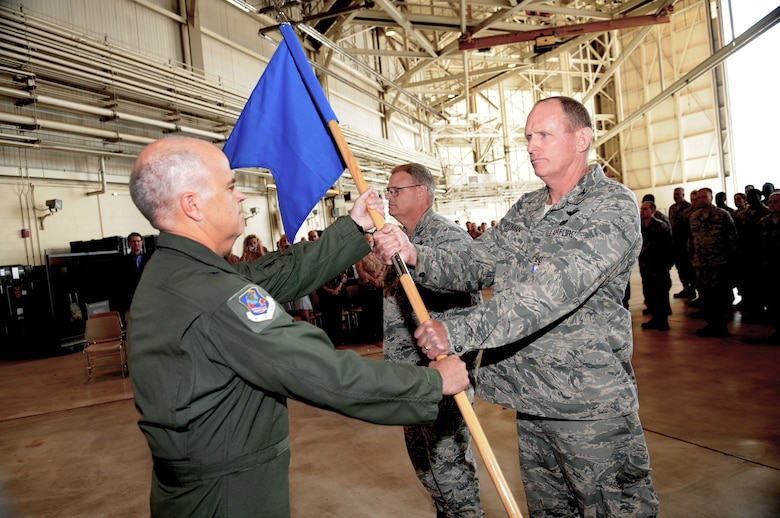 Charlotte, N.C. Col David Zartman, relinquishes command of the 145th Maintenance Group to 145th Airlift Wing Commander, Brig. Gen. Tony McMillan at the change of
