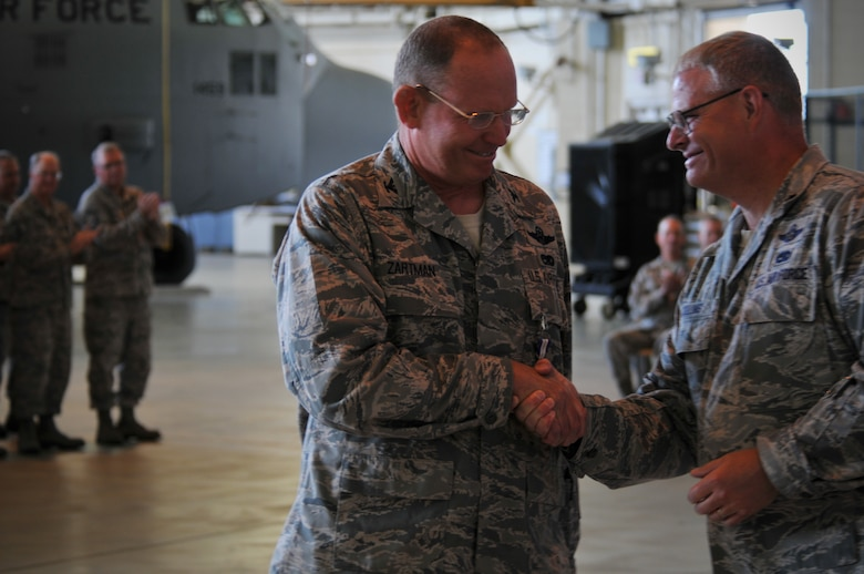 Charlotte, N.C. -- Lt Col Marshall Collins (right), congratulates Col David Zartman after