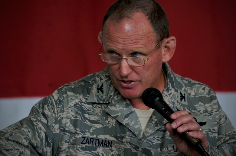 Charlotte, N.C. -- Col David Zartman, outgoing commander of the 145th Maintenance Group, thanks his Airmen for their constant hard work June 2, 2012. (U.S. Air Force photo by Tech. Sgt. Brian E. Christiansen)