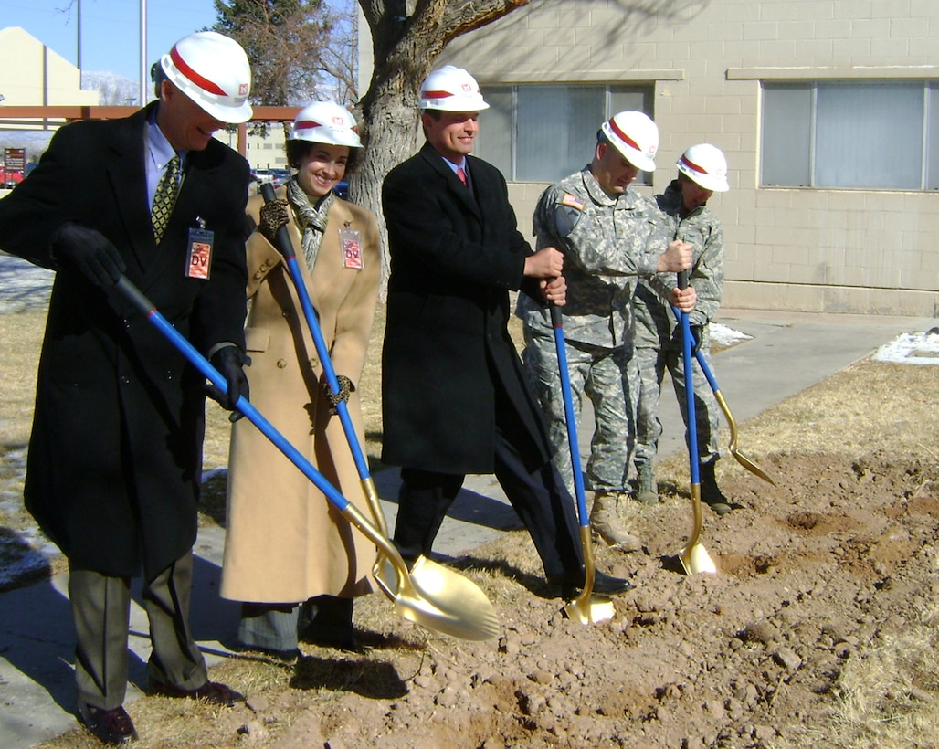 Congressman Martin Heinrich (middle), a representative from Senator Jeff Bingaman's office, Deputy Space Development & Test Directorate Deputy Commander Colonel Carol Welsch, Deputy Corps Commander Major Richard Collins and Honorary Space Development and Test Directorate Commander Mr. Dave Seely (President, Kirtland Federal Credit Union) participate in the ground-breaking ceremony at Kirtland AFB.