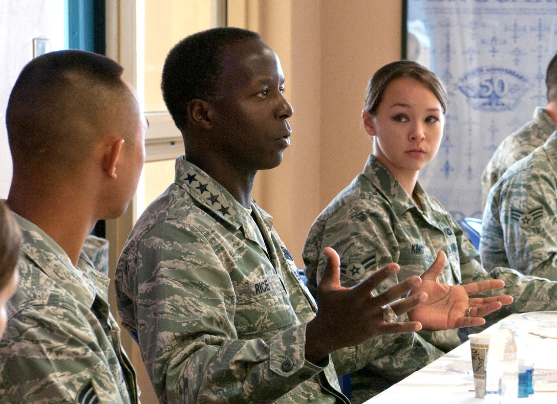 U.S. Air Force Gen. Edward A. Rice Jr., commander of Air Education and Training Command, engages with Airmen during a breakfast at the 162nd Fighter Wing in Tucson, Ariz., June 2. Rice visited the Arizona Air National Guard's F-16 Fighting Falcon training unit to observe activities at Tucson International Airport during the June Unit Training Assembly. (U.S. Air Force photo by Tech. Sgt. Hollie A. Hansen)