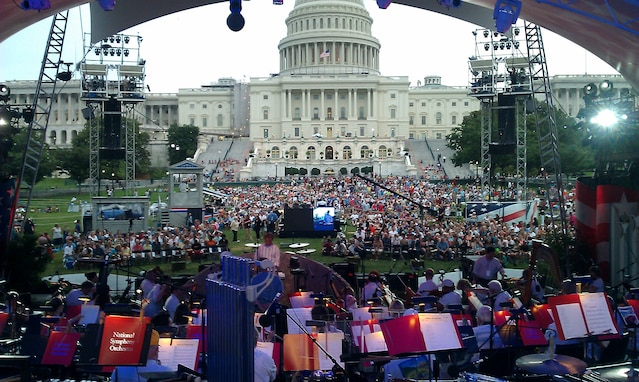 A shot of the crowd from the stage at the dress rehearsal of the National Symphony Orchestra's Memorial Day concert on the West Lawn of the Capitol. (AF Photo by Master Sgt. Janice Carl)