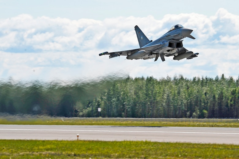 A German air force Eurofighter Typhoon launches from the runway June 4, 2012, Eielson Air Force Base, Alaska.  The GAF is participating in RED FLAG-Alaska 12-2, a two-week-long exercise providing aircrew realistic combat sorties and increasing their chances of survival in combat.  (U.S. Air Force photo/Staff Sgt. Miguel Lara III)