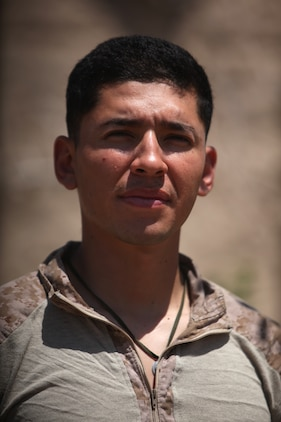 Petty Officer 3rd Class Eduardo D. Estrada, corpsman, Golf Company, 2nd Battalion, 5th Marine Regiment, along with two other corpsmen, helped save the life of 1st Lt. Michael Rhoads, a forward observer, who was shot in the torso, April 15, 2012. Estrada, 24, from Tucson, Ariz., stuck three needles into Rhoads to empty blocked space in his chest cavity, helping save his life.