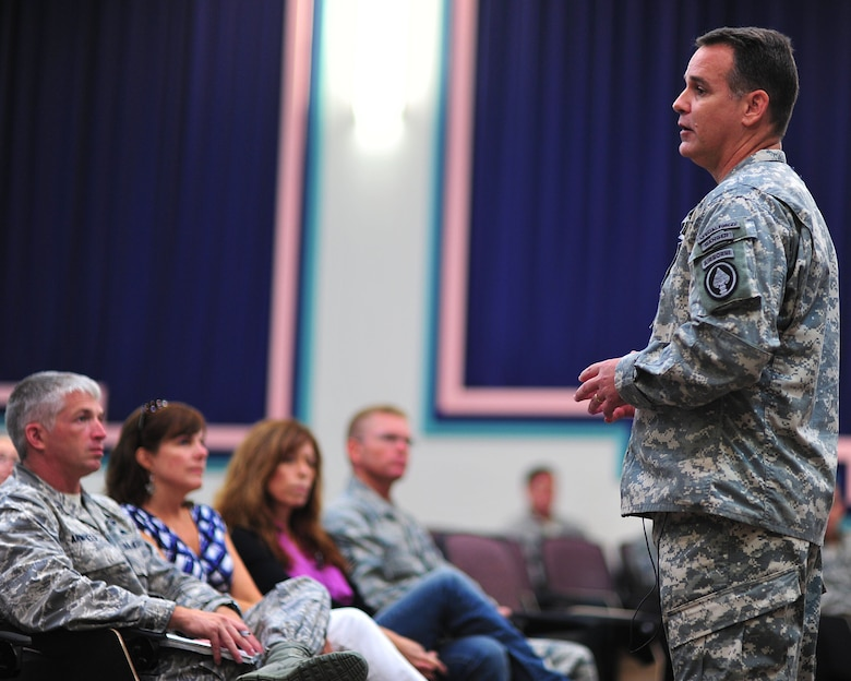 U.S. Special Operations Command Senior Enlisted Adviser Command Sgt. Maj. Chris Faris discusses the hardships his family endured due to mulitple deployments from war June 6, 2012. CSM Faris tells his story to show Hurlburt members and their families they are not alone and help is available. (U.S. Air Force photo/Tech. Sgt. Vanessa Valentine) Released