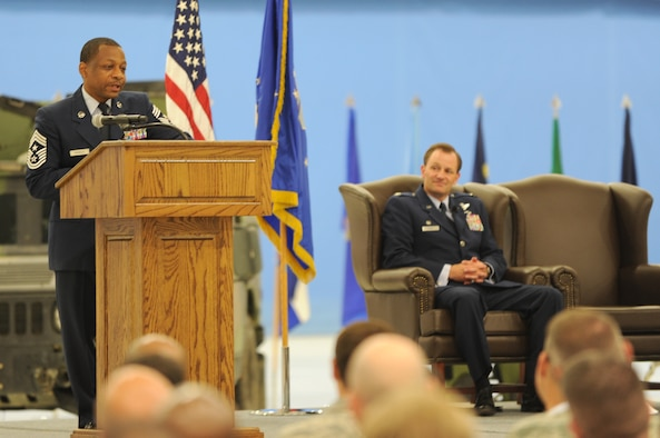 Chief Master Sgt. Anthony Brinkley, 11th Wing/Joint Base Andrews command chief, delivers his remarks during his retirement ceremony June 8, 2012. Brinkley served more than 28 years in the Air Force, many of which were as a First Sergeant.  (U.S. Air Force Photo by Staff Sgt. Torey Griffith)
