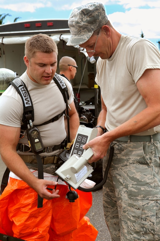 Explosive Ordnance Disposal non-commissioned officer in charge Master Sgt. Ed Nickel, right, helps Tech. Sgt. David Niedzwiadek with a ADM-300 radiological detector during an exercise at the 177th Fighter Wing, New Jersey Air National Guard, June 6, 2012.  Airmen from the 177th along with New Jersey National Guard Soldiers and Airmen of the 21st Civil Support Team (Weapons of Mass Destruction), South Jersey Transit Authority firefighters and New Jersey State Police responded to a simulated weapons of mass destruction incident.  Members of the 177th Explosive Ordnance Disposal team worked with the 21st CST in reacting to a simulated explosion on base. The 21st CST supports civil authorities by responding to a weapons of mass destruction (WMD) situation. The unit is made up of full-time New Jersey Army and Air National Guard members that have been trained and equipped to provide support to civil authorities at a domestic chemical, biological, radiological, nuclear and high-explosive (CBRNE) incident site by identifying CBRNE agents/substances, assessing current and projected consequences and advising on response measures and assisting with appropriate requests for state support.  U.S. Air Force photo by Master Sgt. Mark C. Olsen