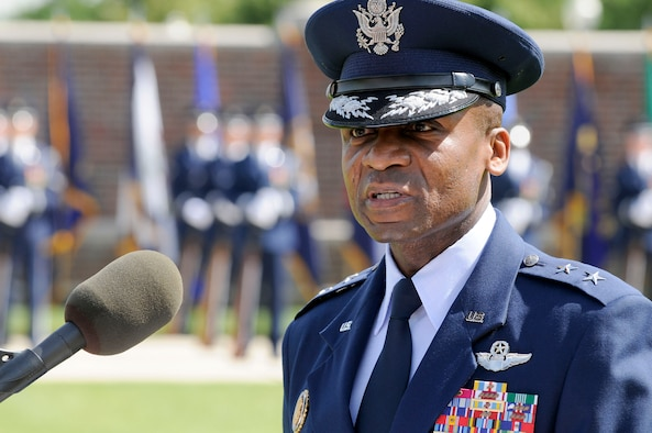 Air Force District of Washington Commander Maj. Gen. Darren McDew speaks during the Joint Base Anacostia-Bolling Air Force Element change of command June 6 at JBAB, Washington, D.C. During the ceremony Col. Michael Saunders assumed command from outgoing commander Col. Roy-Alan Agustin.  (U.S. Air Force photo by Senior Airman Steele C. G. Britton)