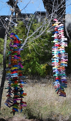 These colorful origami fish were hung in front of the Rio Grande Nature Center during the Middle Rio Grande Endangered Species Collaborative Program's 10th anniversary celebration. The nature center provides opportunities for people to learn about the Rio Grande Bosque's riparian forest ecosystem.