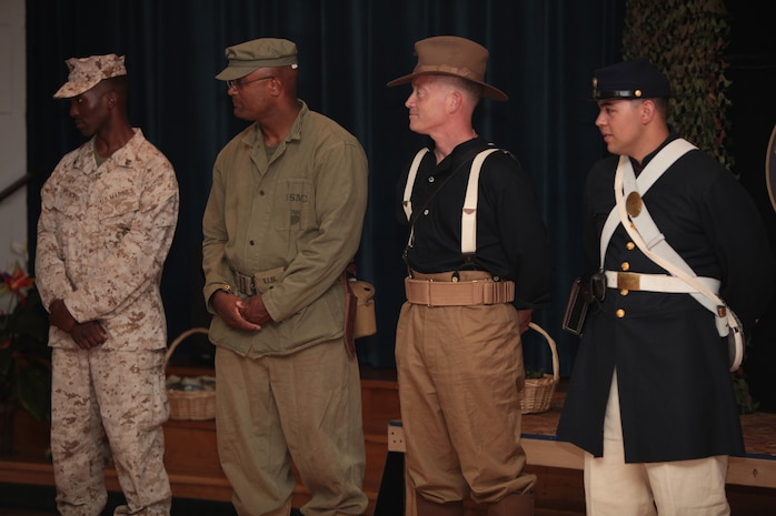 Marines in era-appropriate attire bring history alive during a National Museum of the Marine Corps educational outreach program at the John A. Polonye Community Center in Brook Park, Ohio, June 11. The program, part of Marine Week Cleveland June 11-17, also featured a puppet show and Chesty, the NMMC mascot. The program is scheduled to run daily at other recreation centers in the Cleveland community June 12-15 as part of Marine Week Cleveland.