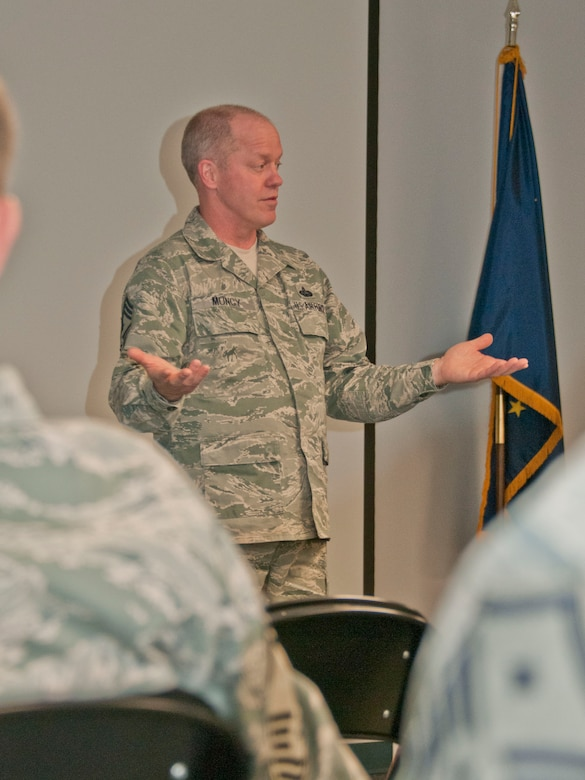 JOINT BASE ELMENDORF-RICHARDSON -- Chief Master Sgt. Chris Muncy, the command chief of the Air National Guard,  speaks with the 176 Wing's cheifs and first sergeant here June 10. He visited the guardsmen during his routine visits to Air Guard bases across the nation. National Guard photo by Staff Sgt N. Alicia Goldberger