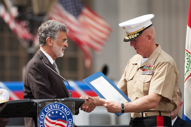 Cleveland Mayor Frank G. Jackson presents the Marine Week Cleveland proclamation to Lt. Gen. Steven A. Hummer, commander of Marine Forces Reserve and Marine Forces North, during the Proclamation Ceremony in Cleveland June 11, 2012. Jackson expressed his excitement for the upcoming Marine Week events and officially welcomed the Marines to the city. 'I encourage all Clevelanders to join me in recognizing the contribution the United States Marine Corps has made to our nation and to the city of Cleveland.'