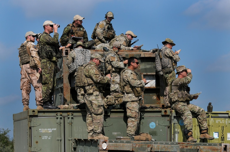 Members of the Texas Air National Guard's 147th Air Support Operations Squadron operate alongside members of the air force of the Czech Republic, which is paired with Texas through the National Guard's State Partnership Program, at Yankee Range, the northern of two ranges that comprise the McMullen Target Complex, which is part of Naval Air Station Kingsville, and is managed by Detachment 1, a subcomponent of the Texas Air National Guard's 149th Fighter Wing at Lackland Air Force Base, Texas, on May 30, 2012. (Air National Guard photo by Senior Master Sgt. Mike Arellano / Released)