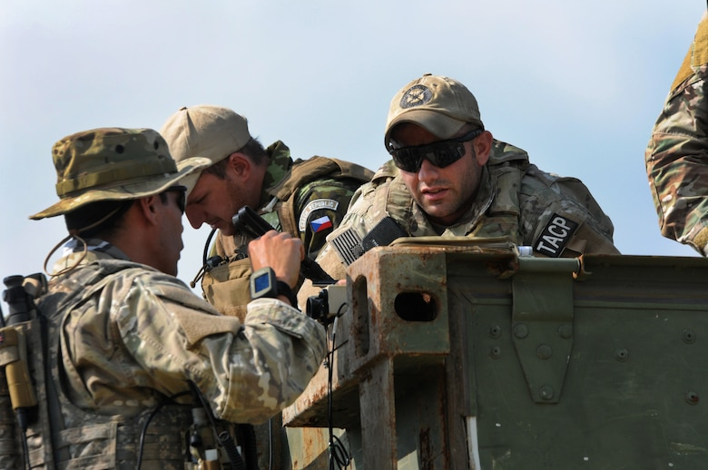 Members of the Texas Air National Guard's 147th Air Support Operations Squadron operate alongside members of the air force of the Czech Republic, which is paired with Texas through the National Guard's State Partnership Program, at Yankee Range, the northern of two ranges that comprise the McMullen Target Complex, which is part of Naval Air Station Kingsville, and is managed by Detachment 1, a subcomponent of the Texas Air National Guard's 149th Fighter Wing at Lackland Air Force Base, Texas, on May 30, 2012. (Air National Guard photo by Staff Sgt. Phil Fountain / Released)