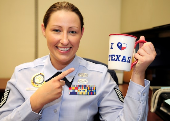 Tech. Sgt. Jennifer Joubert, a production recruiter with the Texas Air National Guard's 149th Fighter Wing at Lackland Air Force Base, Texas, on Apr. 5, 2012. (Air National Guard photo by Senior Master Sgt. Mike Arellano / Released)