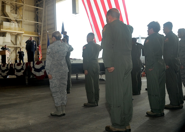 ALTUS AIR FORCE BASE, Okla. – Lt. Col. Jonathan M. Philebaum, 730th Air Mobility Training Squadron commander, receives his first salute from members of the 730th AMTS during the squadron reactivation and assumption of command ceremony at hangar 517 June 13, 2012. The 730th AMTS mission is to train C-17 Globemaster III and KC-135 Stratotanker aircrews alongside their fellow active-duty Airmen at Altus AFB. (U.S. Air Force photo by Airman 1st Class Franklin R. Ramos / 97th Air Mobility Wing / Released)