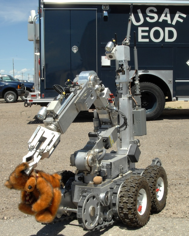 An Andros F-6 robot is used during a training exercise by explosive ordnance disposal Airmen to remove a bear suspected of having an explosive device inside it to a safe distance June 13, 2012, at Mountain Home Air Force Base, Idaho. EOD Airmen use the robot in extremely dangerous situations and get extensive training on how to manipulate it from place to place. (U.S. Air Force photo/ Senior Airman Benjamin Sutton)