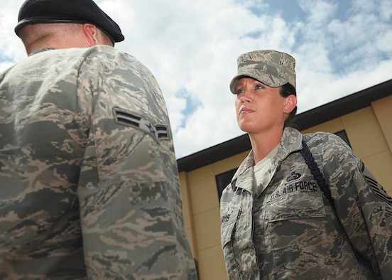 Master Sgt. Alucia Davis, superintendent of military training at the 37th Training Support Squadron, is the Air Force's outstanding military training leader of the year for 2011. (U.S. Air Force photo/Robbin Cresswell)