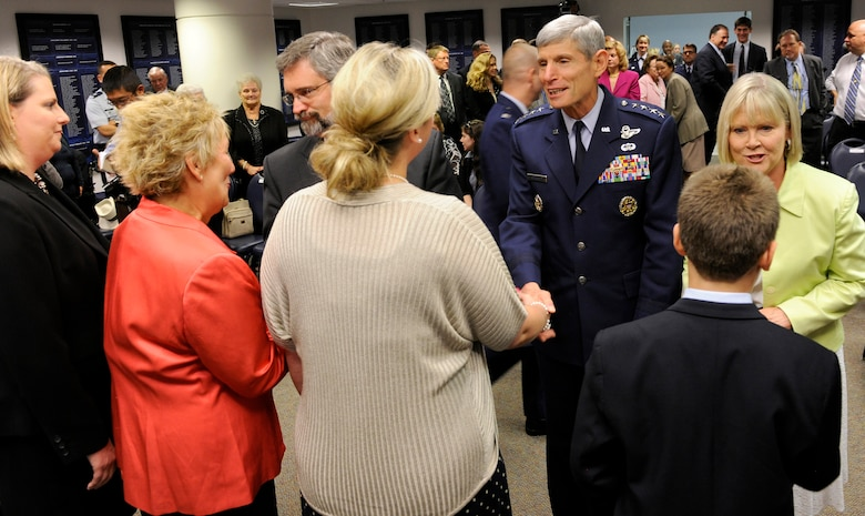 Air Force Chief of Staff Gen. Norton Schwartz and his wife Suzie congratulate family members of Capt. Francis Gary Powers following his posthumous presentation of the Silver Star on June 15, 2012, in the Pentagon. Powers was shot down over the Soviet Union on May 1, 1960, and received the decoration for the heroism he displayed while held prisoner by the Soviets. He was released in 1962 but subsequently died in a 1977 helicopter crash. (U.S. Air Force photo/Scott M. Ash)